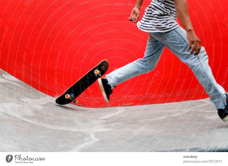 skateboarder at skate park Footwear Legs Red Youth (Young adults) teenager urban Outdoors background skater Lifestyle free time Healthy Equipment activity
