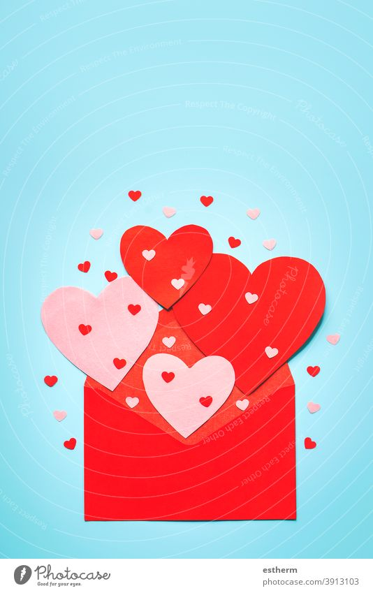 Happy Valentine's Day.Red envelope and red heart.Valentine day concept Valentine's day paper heart valentine background love valentines lovely love message