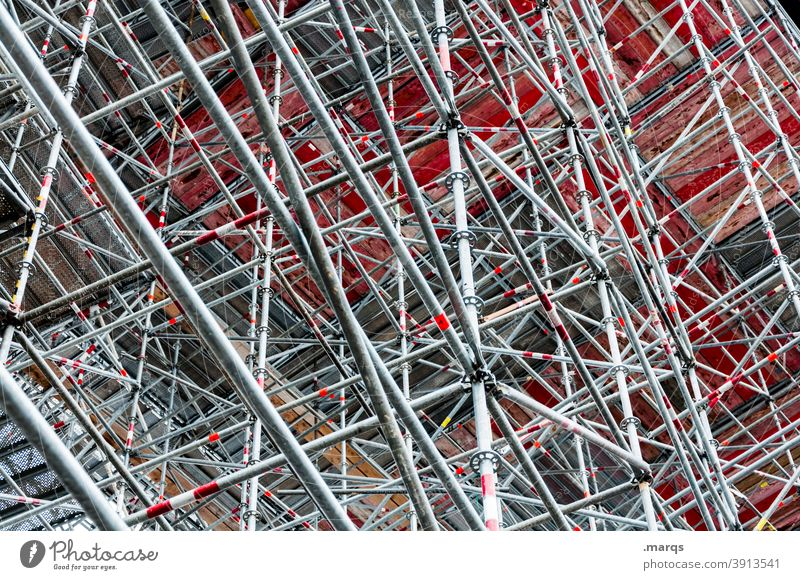 scaffolding Scaffold Construction site Steel Steel construction Pattern Abstract Metal Steel carrier Irritation Architecture Crazy Many Exceptional Line