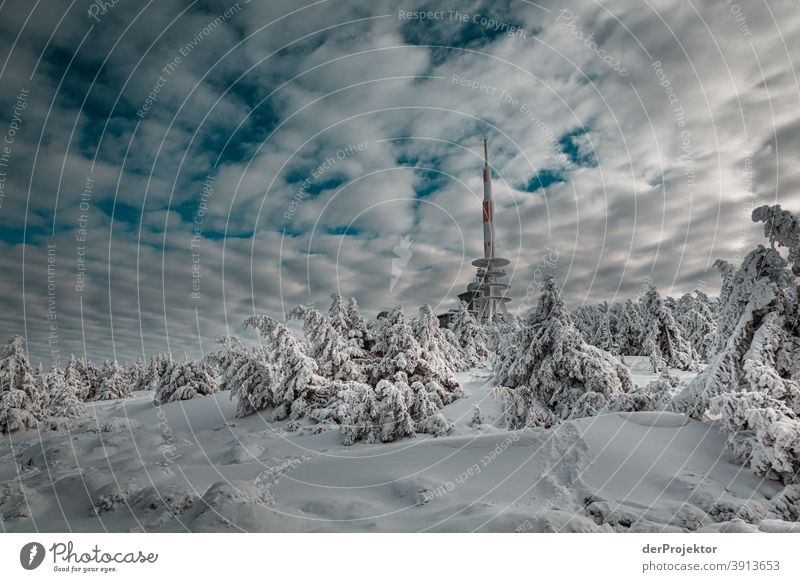 Brockenspitze in the snow with transmission mast Resin_2018 Joerg farys National Park nature conservation Lower Saxony Winter theProjector theProjector_2017