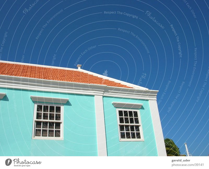 Sky Blue Red House (Residential Structure) Colour Architecture Cuba