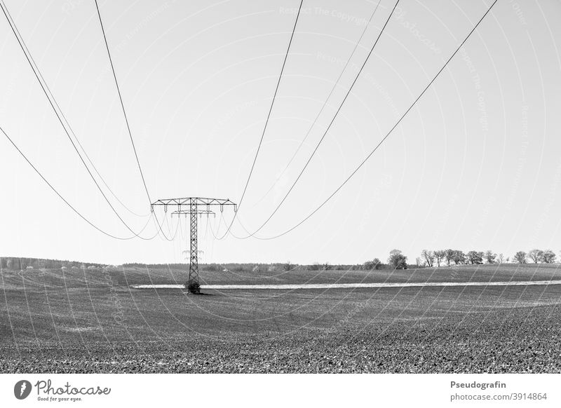 Electricity Electricity pylon Transmission lines Energy industry Cable High voltage power line Landscape Power transmission Exterior shot Deserted