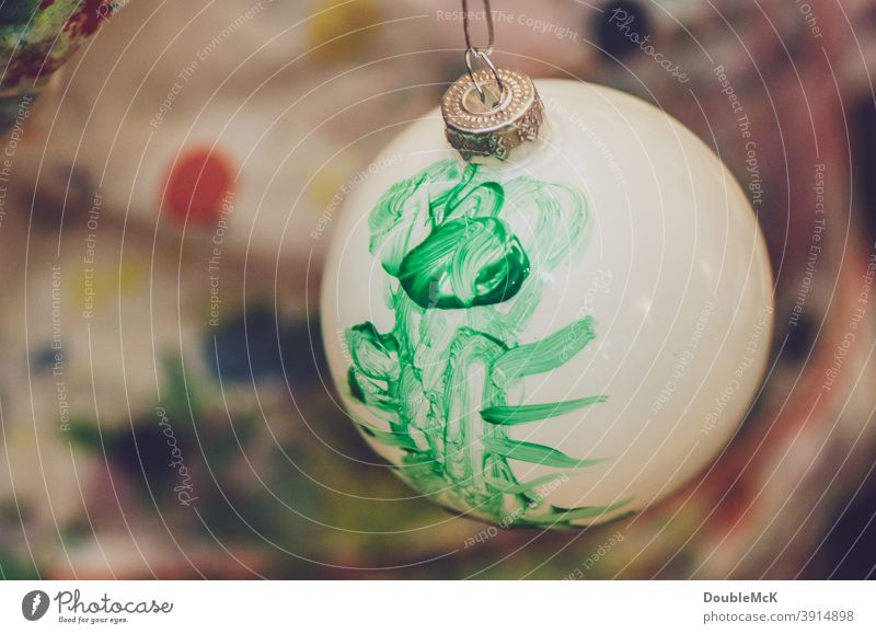 White Christmas ball painted by a child himself with green paint christmas ball Glitter Ball Christmas & Advent Decoration Christmas decoration Sphere