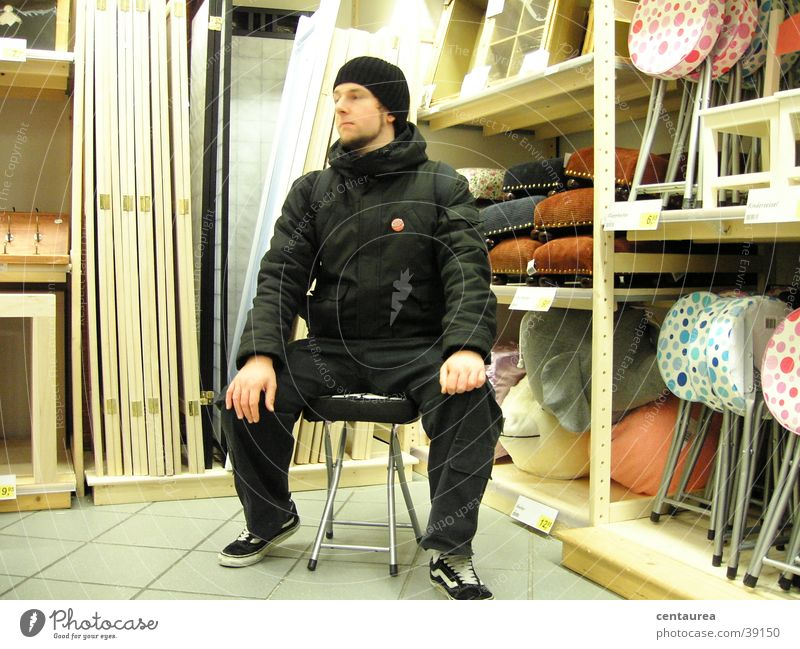 Man Calm Loneliness Relaxation Sadness Masculine Shopping Sit Grief Chair Observe Longing Comfortable