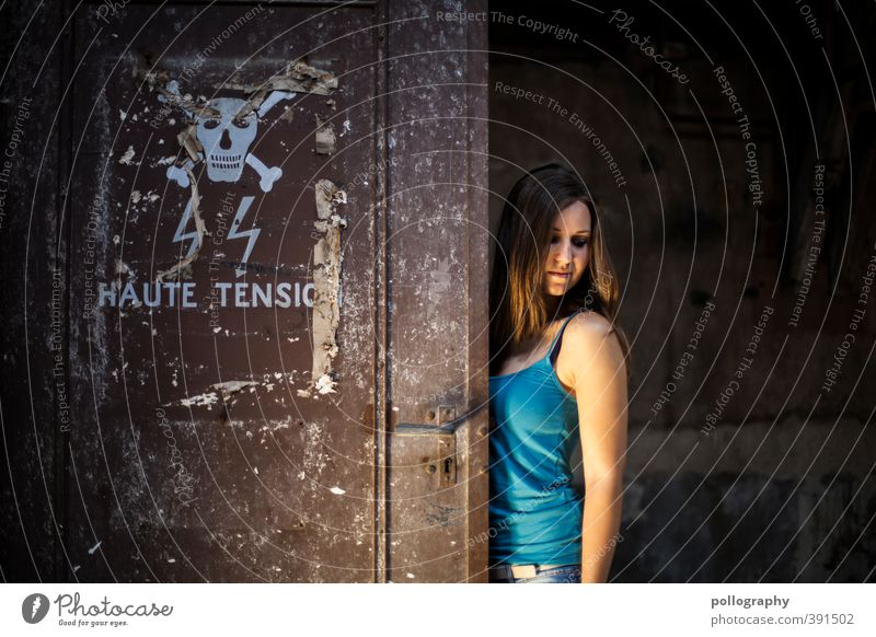 Beware of danger! Do not look away... Human being Feminine Young woman Youth (Young adults) Woman Adults Life Body 1 18 - 30 years Industrial plant Factory