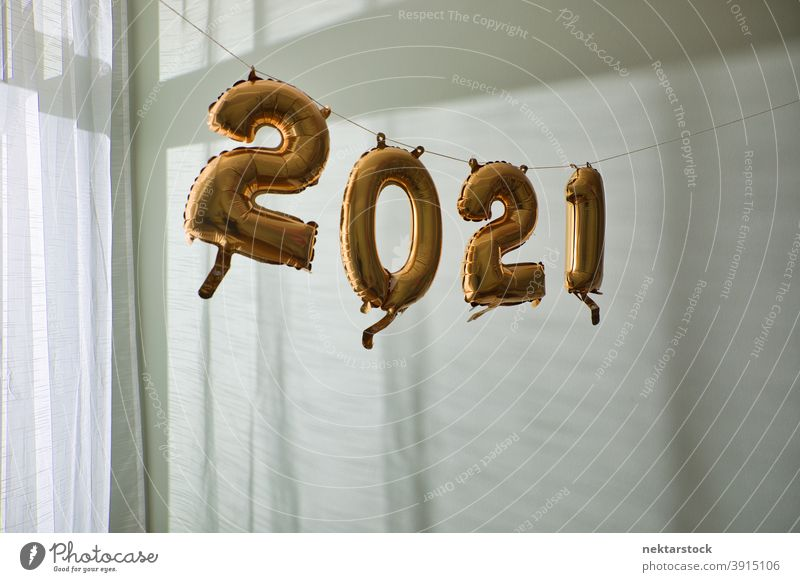 2021 Balloons Hanging Indoors balloon new year's wall indoor day daylight inflated celebration decoration background party natural lighting numbers ornate