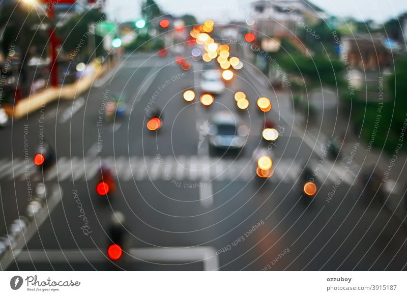 defocused city street Traffic light background Light Town Street Transport Car Vehicle Copy Space Vintage Traffic infrastructure Downtown Road traffic