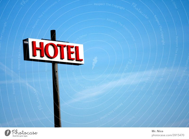 HOTEL Hotel Signage Vacation & Travel Tourism Signs and labeling Characters Blue sky Red Hostel Accommodation Advertising Neon light Business trip overnight