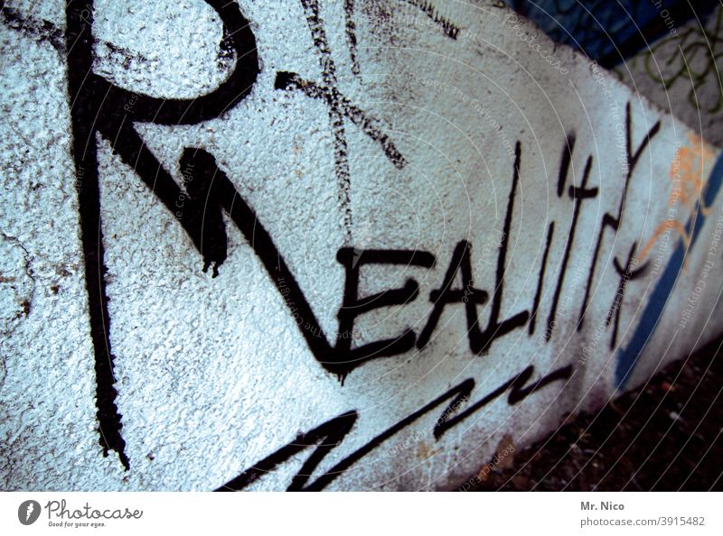 reality actuality Really Future Graffiti Wall (building) Wall (barrier) Virtual Black White realistic Characters Text English Letters (alphabet)