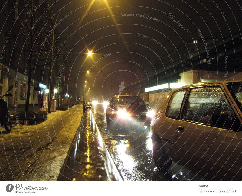 Street Snow Berlin Car Rain Glittering Fog