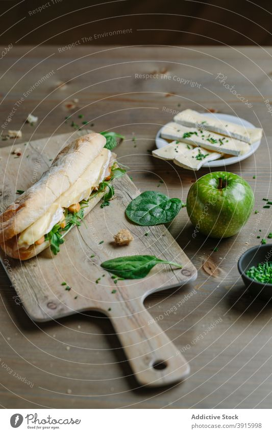 Healthy panini of cheese, arugula and apple lunch bread food snack healthy breakfast meal tomato sandwich fresh toast dinner vegetable background delicious