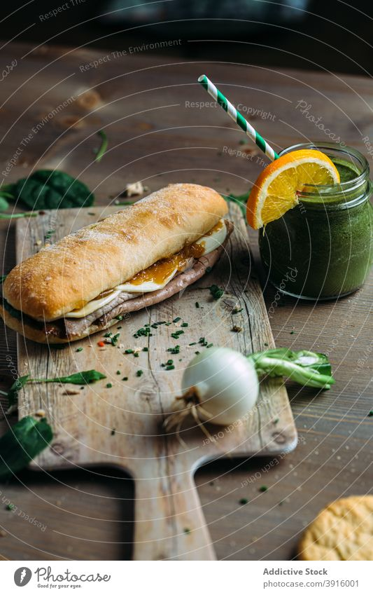 Healthy sandwich of roast beef with vegan smoothie lunch bread food snack healthy breakfast meal tomato fresh toast dinner vegetable background delicious