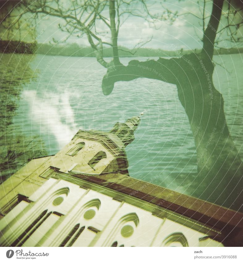 nave Analog analogue photography Analogue photo Holga Slide Scan Lomography Double exposure Church Lake Tree Religion and faith Green multiple exposure bank
