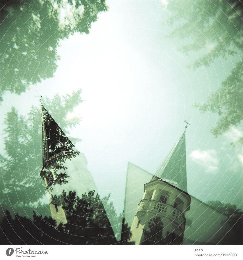 dual leadership Church Church spire Belief Religion and faith religion Analog cross Cross processing Holga Lomography Sky Slide Scan Double exposure Tree