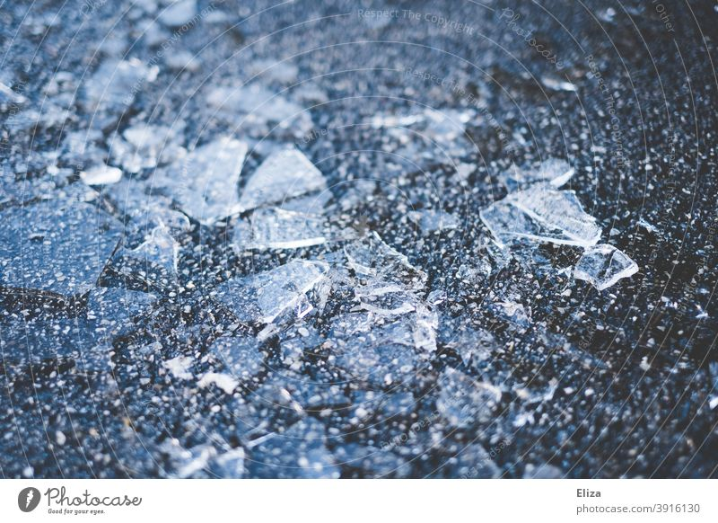 Ice chips on the floor ice slivers Broken Glass Cold Frozen Splinter Winter Blue freezing cold Structures and shapes Frost shards