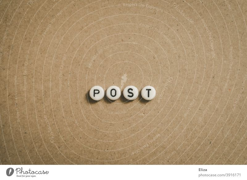 Post with letters written on brown background Mail gedchrieben Word Letters (alphabet) Write Letter (Mail) Newsletter Brown Text