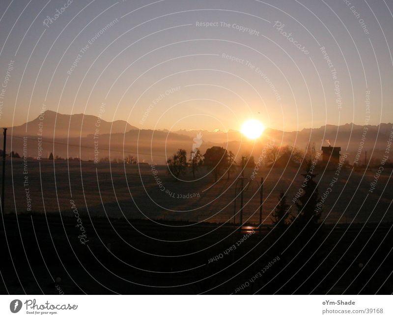 winter morning Fog Sunrise Panorama (View) Light Mountain Morning Clarity Landscape Sky Beautiful weather Large Illuminate