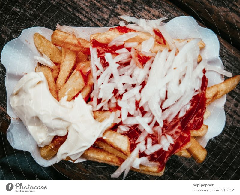 French fries red white with onions Hotdog Fast food Sausage Food Nutrition Colour photo Eating Lunch Meat Delicious Appetite Fat Unhealthy Close-up Dinner