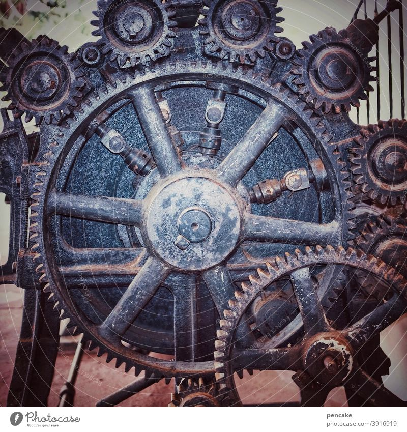 wheels of | contemporary history Old Machinery Gearwheel Grasp Historic Invention Freudenstadt Finisher 19th century Industry Mechanics Wheel Gear unit