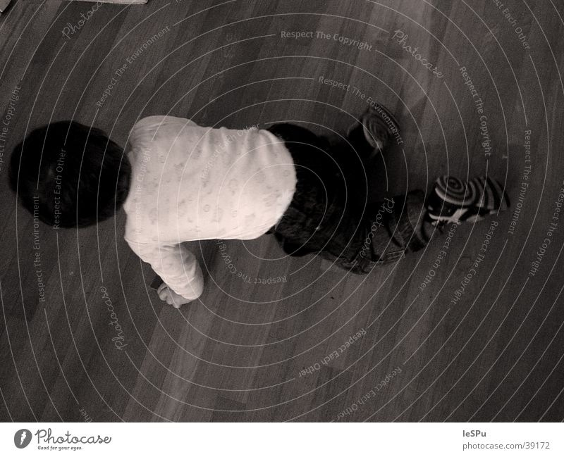 child Child Crawl Bird's-eye view Playing Human being Floor covering Dynamics Escape Black & white photo