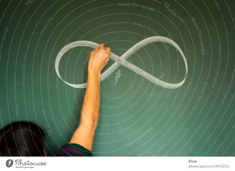 One person draws an infinity symbol on a blackboard infinitely circulation Blackboard Infinity sign Infinity symbol without end definitively Eternity endless