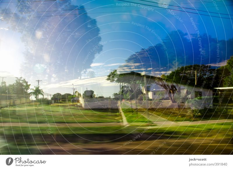 Long walk home Sky Clouds Exotic Garden Outback Detached house Vacation & Travel Speed Complex Surrealism Irritation Double exposure Tropical Time travel