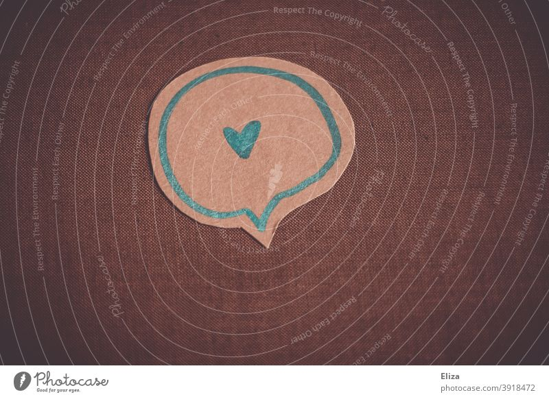 Heart in a speech bubble. Loving communication. Valentine's Day and Mother's Day. affectionately Estimation Emotions Speech bubble Communicate relation Romance
