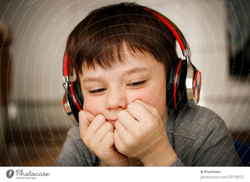 Child with headphones Music Listening Listen to music Headphones portrait Lifestyle To enjoy Relaxation Joy Youth (Young adults) Happy Infancy