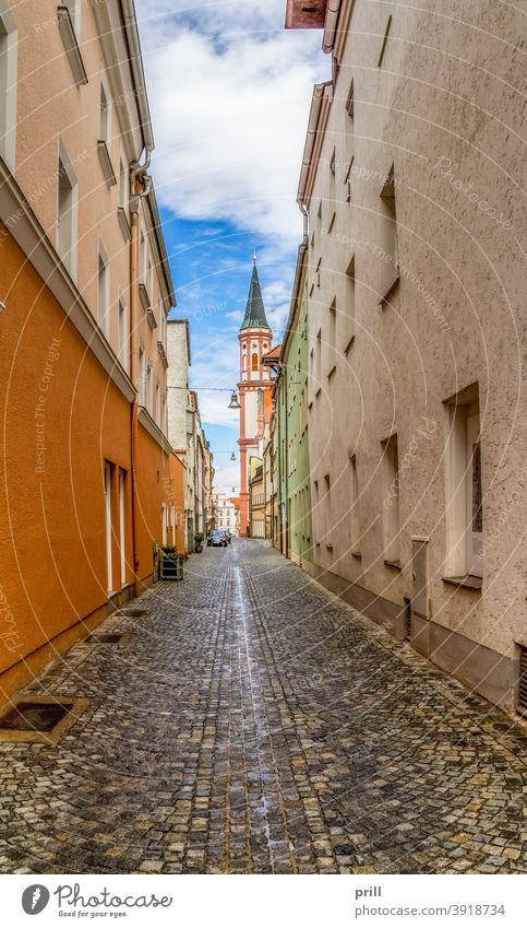 Straubing in Bavaria Town Niederbayern Germany Architecture Building Culture Tradition Tower Pedestrian precinct Old town Summer House (Residential Structure)