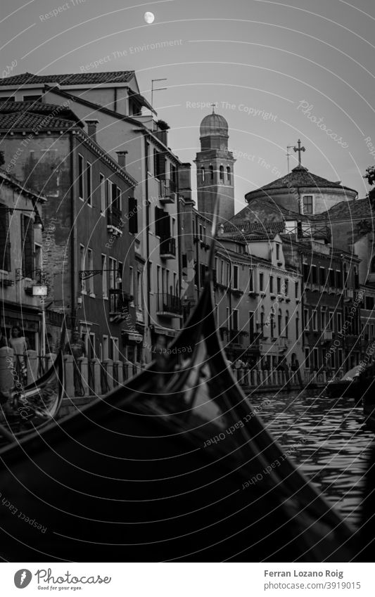 Afternoon in gondola in Venice with the moon Italy Gondola Moon Canal Grande canal black and white Building Old Nostalgia venezia