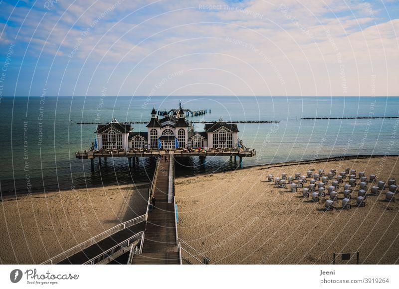 Baltic Sea pier | blue sky with clouds | beach with beach chairs Sea bridge Sellin Baltic coast Island island rebuke Rügen Exterior shot Relaxation Calm