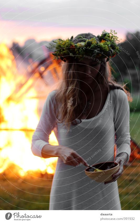 midsummer Liga Human being Woman Sky Nature Youth (Young adults) Summer Landscape Young woman Forest Adults Environment Meadow 18 - 30 years Life Feminine