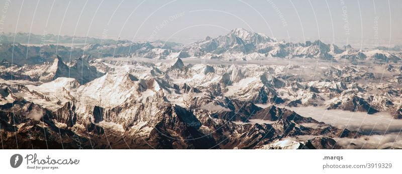 alpine panorama Alps Mountain Snow Snowcapped peak Panorama (Format) Cloudless sky Peak Alpine Environment Freedom Far-off places Cold Vantage point