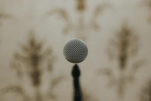 Close up microphone Microphone Sound Sound engineering Record Tone Music Listen to music Technology Entertainment Media Deserted Disc jockey Black Retro