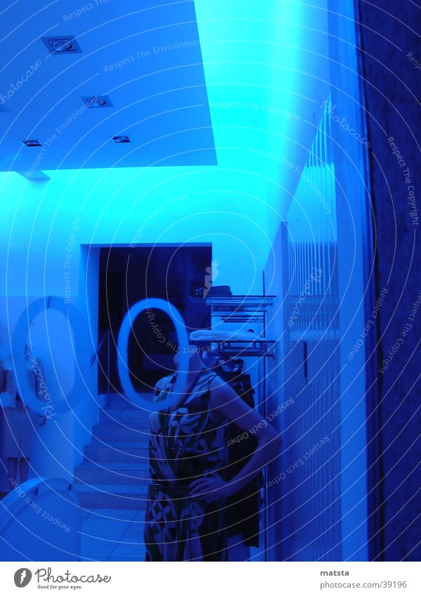 Blue Architecture Neon light Mannequin Shop window