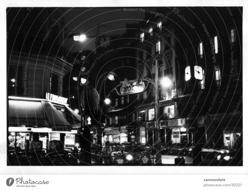 Paris at night Paris Métro Sidewalk café France Europe 1995 Black & white photo
