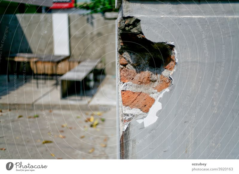 damage wall Wall (barrier) Wall (building) Damage Pattern Facade Colour photo Structures and shapes Architecture Brick Manmade structures Brick facade Day