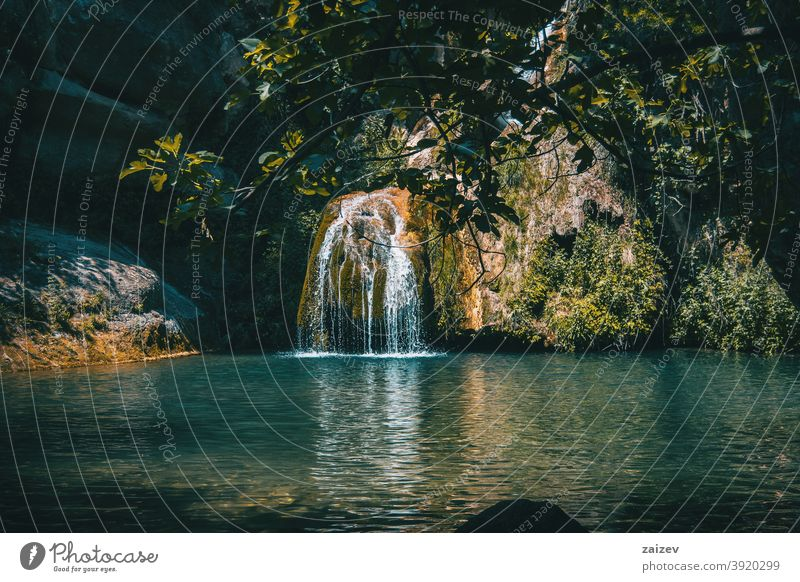 landscape of a small waterfall in a forest of tarragona, spain peaceful serene tranquility exploration meditate pure purity zen refresh relaxing solitude fluid