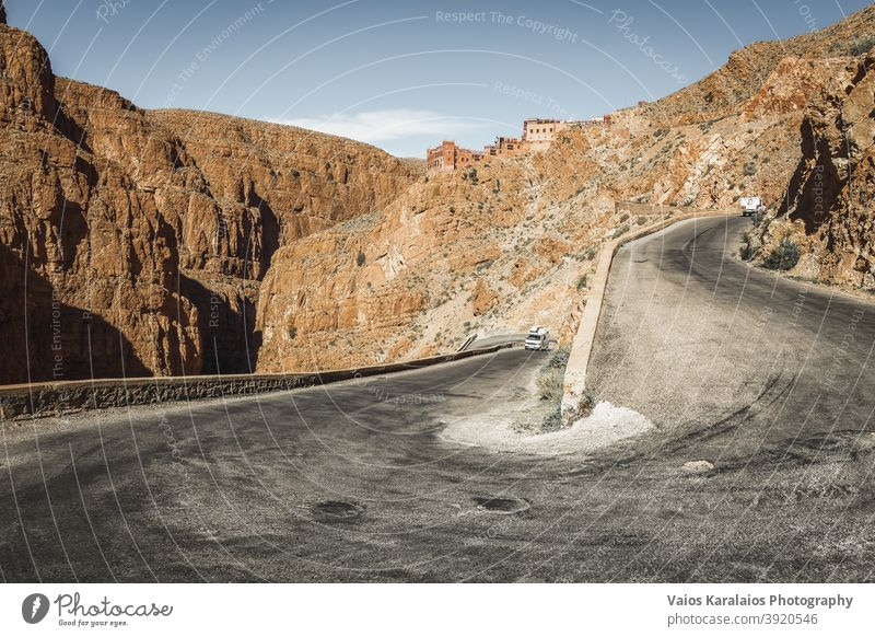 View of the impressive road in Dades gorge in Morocco desert curve africa travel scenery adventure canyon moroccan way berber nature scenic sunny high rock