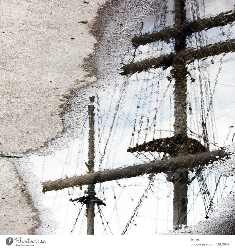 shore leave Water Sky Clouds Puddle Transport Means of transport Lanes & trails Concrete floor Concreted Navigation Sailing ship Harbour Rope Mast Rigging