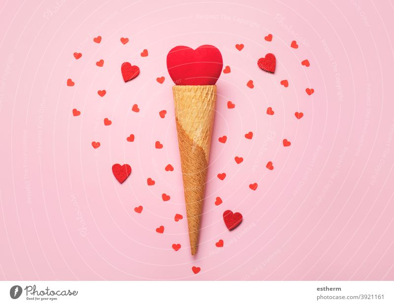 Happy Valentine's Day.Red heart in ice cream cone.Valentine day concept Valentine's day love valentine background lovely i love you valentines 14 february