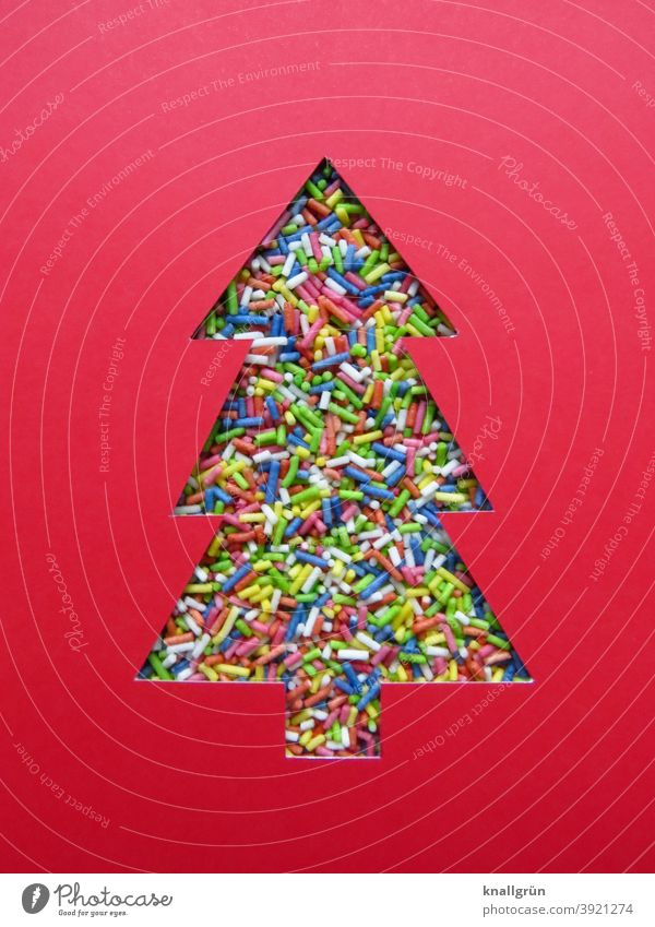 Christmas tree made of colored sprinkles variegated Decoration Multicoloured Christmas & Advent Christmas decoration Silhouette fir tree Home-made DIY Granules