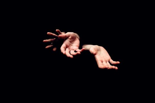 Three hands Hand Human being Irritation Fingers Posture Finger game Black Limbs Gesture 3 Experimental Abstract Artificial light Skin Palm of the hand