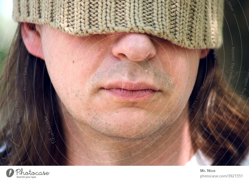 undetected Face Cap Head Facial expression portrait Woolen hat Style Lifestyle Man Mouth Lips Nose incognito Masked Concealed Shaving Chin Skin Blind Hide