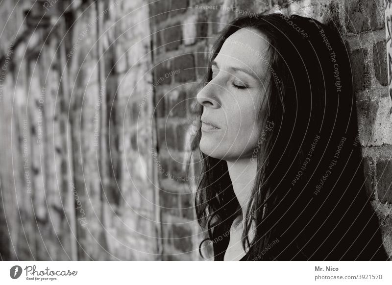 Portrait with closed eyes Closed eyes Face Woman Thoughtless Loneliness Concentrate silent Fatigue Sadness Moody relaxation Meditative Longing portrait Dream