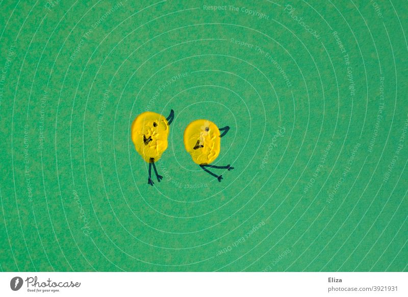 Painted: Two yellow chicks on green background Chick Yellow Easter two Couple In pairs Cute Home-made Green Earmarked