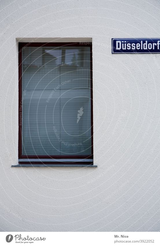 Düsseldorf House House (Residential Structure) Architecture Building Window Facade Wall (building) Gloomy Roller shutter Roller blind Venetian blinds Closed