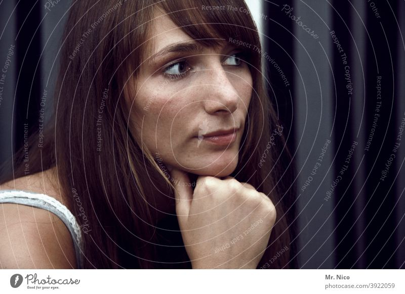 contemplative portrait ponder Think Woman Calm Face Looking Thought Dream Eyes Sadness Distress Hair and hairstyles Emotions Dark Feminine Loneliness Hand