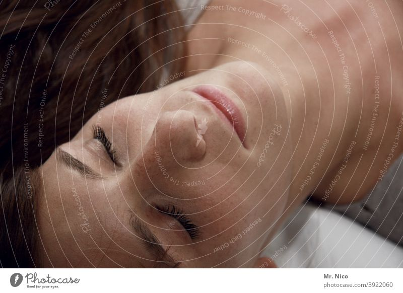 beauty sleep Sleep Woman Relaxation Lie Calm Feminine Fatigue Closed eyes Safety (feeling of) portrait Dream Face Exhaustion Break Eyebrow eyes closed Nose