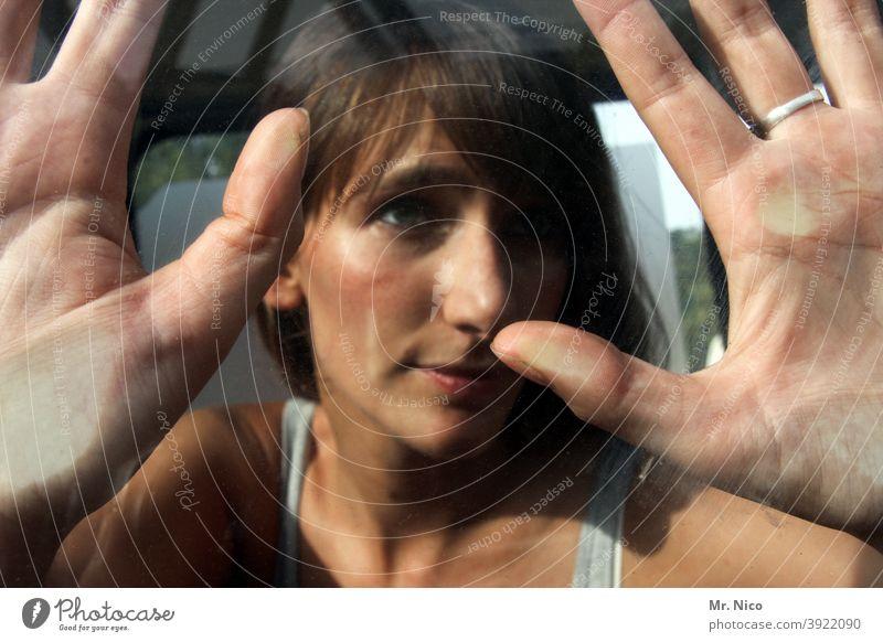 Hand surface Pane Fingers Window pane Glass Imprint fingertips Fingerprint Woman Face Touch Skin Car window handprint hand surface Thumb Looking